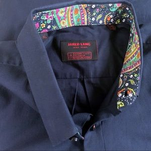 Jared Lang Button Down Shirt Paisley Collar XL